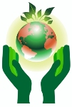green hands supporting globe with leaves